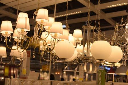 Russia, Saint-Petersburg, 15,03,2015 Various lighting fixtures, lamps and nightlights in the Ikea store Editorial