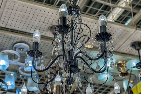 Russia, St. Petersburg, 01,10,2017 Lusters and lamps exhibited in the store for sale