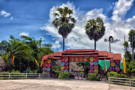 Thailand, Pattaya, 27,06,2017 Arch - entrance to the village of long-necked women Editorial