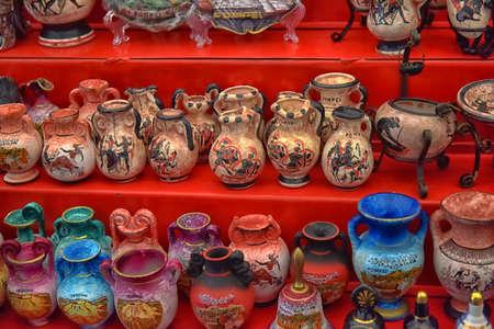 Italy Pompeii Antique Vases Souvenirs For Sale Stock Photo