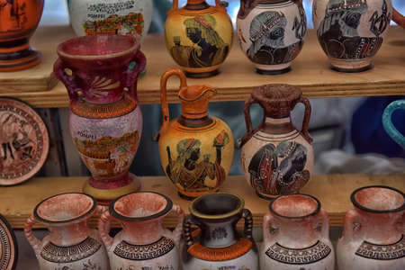 Italy, Pompeii, 02,01,2018 Antique vases souvenirs for sale