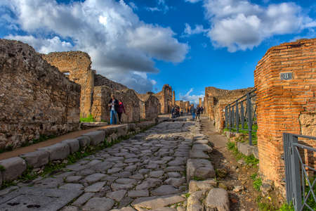 Italy, Pompei, 02,01,2018 Street in Pompeii, Italy. Pompeii is an ancient Roman city died from the eruption of Mount Vesuvius in the 1st century.