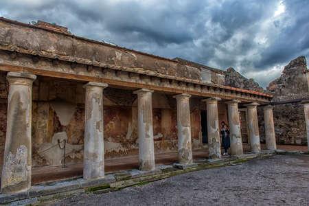 Italy, Pompeii, 02,01,2018      Courtyard of Stabian baths (Terme Stabiane) in Pompeii