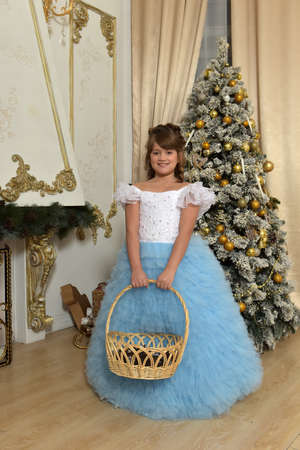 The young fine girl (child) shows the blue dress Stock Photo