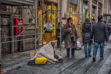 Italy, Naples 02,01,2018 Beggars on the streets of the city