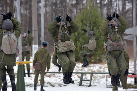 Russia, Novorossiysk 20,12,2014 training equipment for training military parachutists before the first jumps.