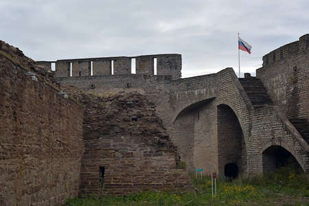 Russia, Ivangorod 01,08,2015 Ancient Russian fortress in Ivangorod.