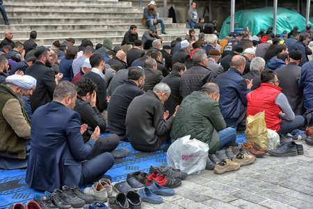 Turkey, Istanbul, 23,03,2018 Muslim performing Friday prayers on the streets of Istanbul