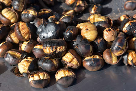 Natural sweet chestnuts just roasted and ready to eat.