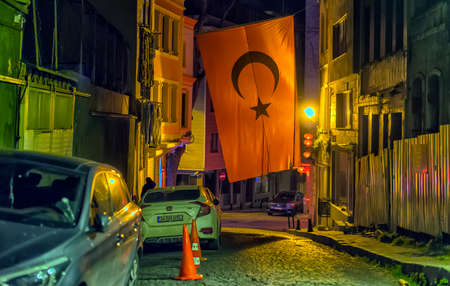 Turkey, Istanbul, 11,03,2018 Night streets of the old city, Sultanahmet district
