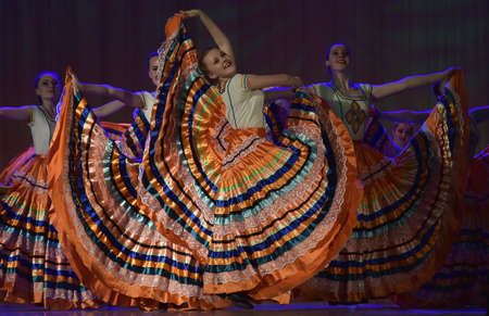 Russia, St. Petersburg, 22,05,2016 Open Dance Festival-2016 Children's dance group performs Flamenco dance at an open festival Editorial
