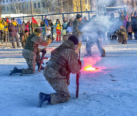 Russia, Saint-Petersburg. 23,02,2018 Demonstration performance of the Russian Army landing troops in honor of the Day of the Defender of the Fatherland Redakční
