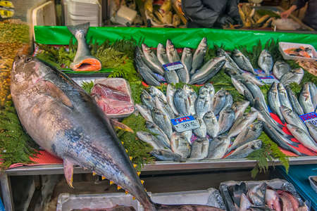 Turkey, Istanbul 23,08,2018 Tuna on the counter in the fish market