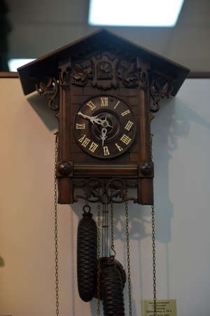 Russia, Angarsk. 02/01/2018 Museum of the ancient clock. The collection of Pavel Vasilyevich Kurdyukov, became the basis for the creation of the first in Russia Museum of the Clock.