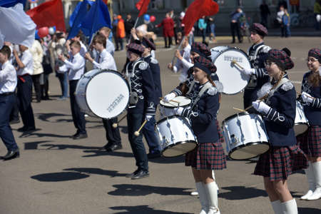 Russia, Angarsk 01,05,2018 May Day demonstration in honor of the celebration of the Holiday of Spring and Labor. The drummers on the parade