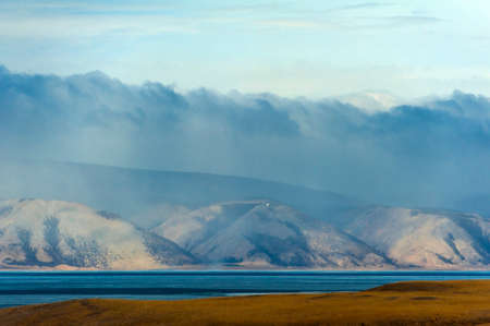 Olkhon. View of the mountains on the other side of Lake Baikal