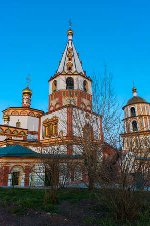 Russia, Irkutsk 06,05,2018 The Epiphany Cathedral (Epiphany Cathedral) is an Orthodox church in Irkutsk, located in the historical center of the city at the intersection of Sukhbaatar streets and the Lower Angara embankment. It is the second oldest stone