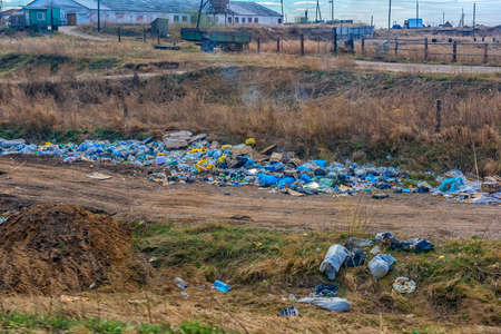 Russia, Irkutsk 06,05,2018  unauthorized garbage dump along the road