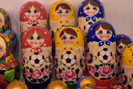 Russia, Kronshtadt 27,05,2018 Souvenirs with Russian symbols in souvenir shop for tourists, Matryoshki