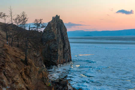 Spring morning at Lake Baikal. Olkhon