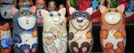 Russia, Saint-Petersburg, 10,06,2018 Wooden painted matryoshka in the form of cats