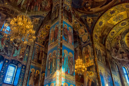 ST PETERSBURG, RUSSIA - 23.09.2017: Ceiling of the Church of the Savior on Spilled Blood. It is an architectural landmark of city and a unique monument to Alexander II the Liberator.