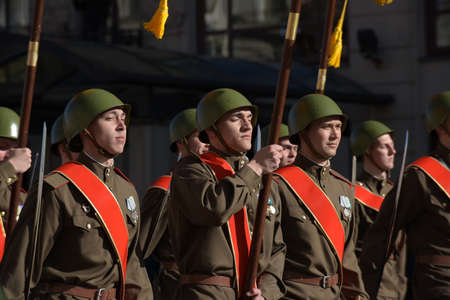 St. Petersburg, RUSSIA 09,05,2015 Soldiers in the form of the Great Patriotic War on the Victory Day parade