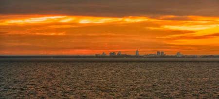 sunrise gold sky clouds sunbeams colour panorama