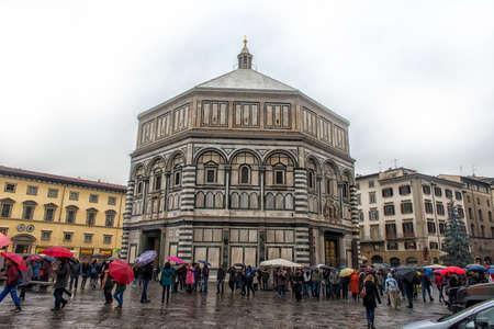Italy, Florence, 01,03,2018 Cathedral of Santa Maria del Fiore and Baptistery of St. JohnBattistero di San Giovanni