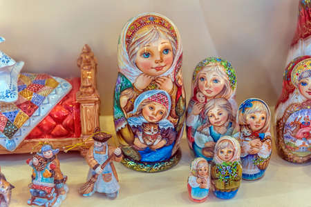 Russia, Moscow, 14,08,2018 Nested dolls in the souvenir shop window