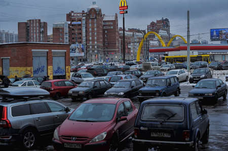 Russia, St. Petersburg, 08,02,2013 Standing of cars at McDonald's