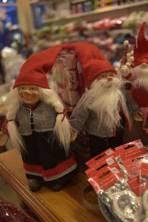 Sweden, Kirkenes. 11,12,2017 Swedish Christmas gnomes at the Christmas market in the souvenir shop