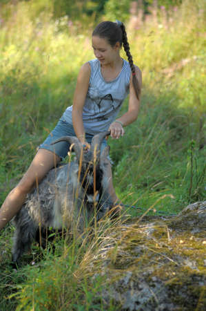 girl teenager and a gray goat outdoor Stok Fotoğraf