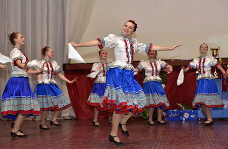 Russia, Pskov. 31,10,2017 Participants of folk dance ensemble in Russian traditional clothing. Festival in honor of National Unity Day in Russia