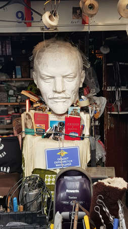 Russia, St. Petersburg, 13,10,2018 Busts of Lenin at the flea market