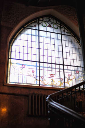 Russia, St. Petersburg 27,02,2017 Stained-glass windows Profitable house of the insurance company