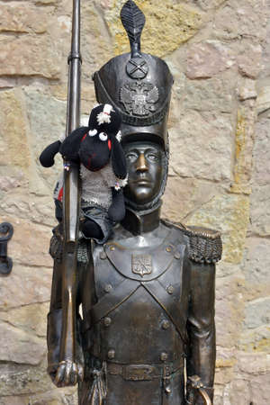 Sosnovy Bor, Russia - 20,07,2015 : Sculpture Steadfast Tin Soldier in the childrens center Andersengrad, Sosnovy Bor