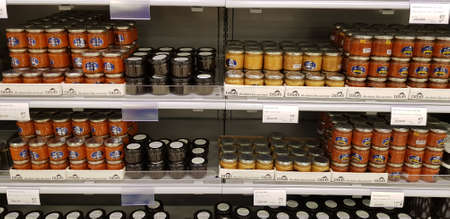 Finland, Lappeenranta 10282018 Banks with different caviar in a fish store