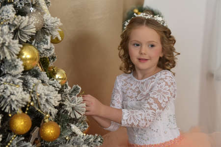 Beautiful young girl in a beautiful ball gown in Christmas interiors Standard-Bild