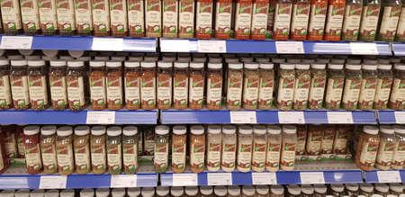 Finland, Lappeenranta, 30,10,2018 Spice jars on store shelves