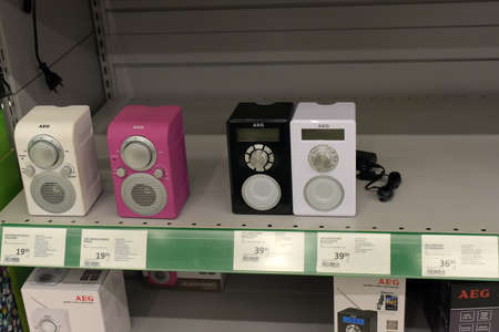 Finland, Lappeenranta, 22,05,2015 Acoustic speakers in the store Editorial
