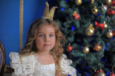 little girl princess in a crown in a white dress in christmas