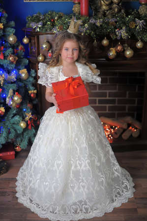 portrait of a little girl princess in a crown in a white Christmas dress with a box with a gift in her hands Stock Photo