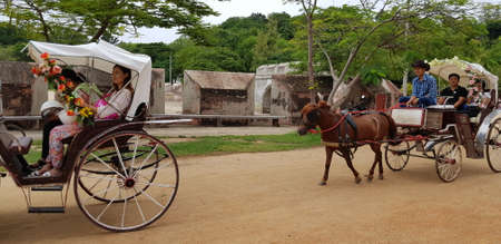Thailand, Pattaya, 08,08,2018 Horse-drawn carriage riding tourists