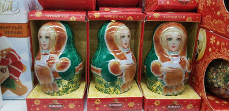 Russia, St. Petersburg 20,11,2018 Gift packs of tea in the form of nesting dolls in the store