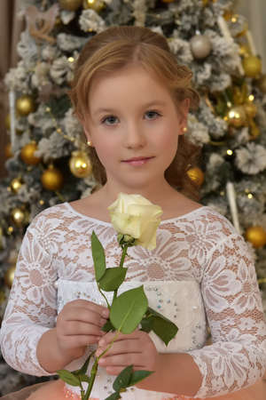 teen blonde in a chic white peach dress in Christmas with a white rose in her hands 版權商用圖片