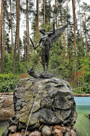 Russia, St. Petersburg 06,06,2015 Russia, St. Petersburg 06,06,2015 Temple of the Konevskaya Icon of the Mother of God Sculpture Saint George and the Dragon Editorial