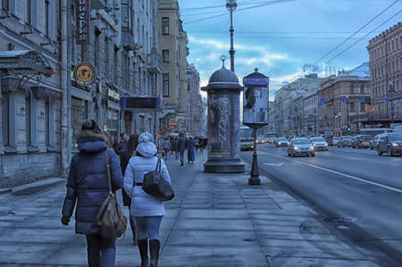 Russia, St. Petersburg 05,02,2013 Nevsky Prospect and pedestrians in the winter on a cloudy day