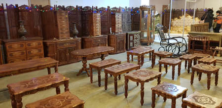 Russia, St. Petersburg 13,01,2019 Furniture in Indian style on sale