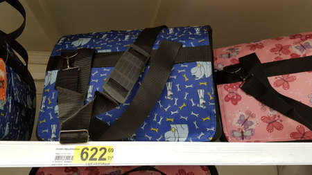 Russia, St. Petersburg 11,09,2018 Bag for cats and small dogs in the store